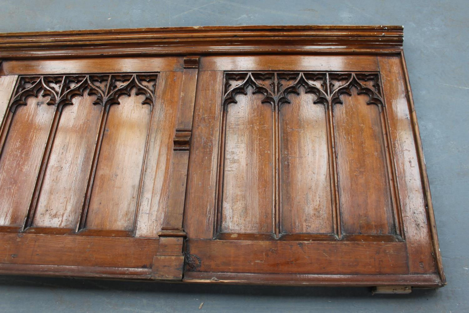Pitch pine panel in five sections in the Gothic Style. - Image 3 of 4