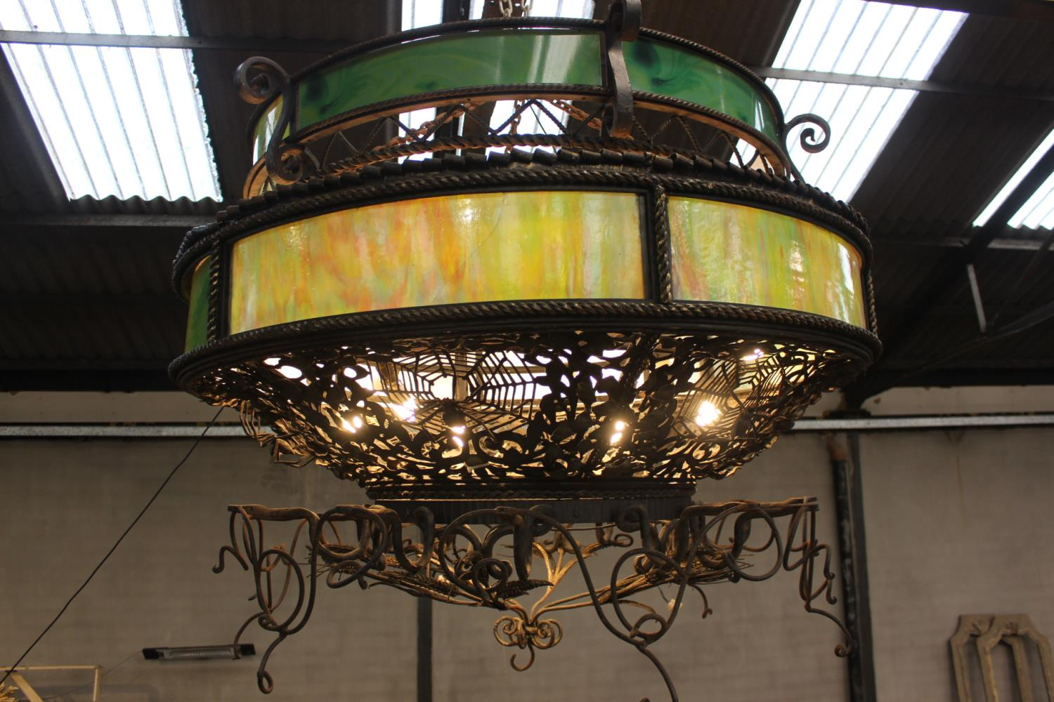 Wrought iron two tier ceiling light