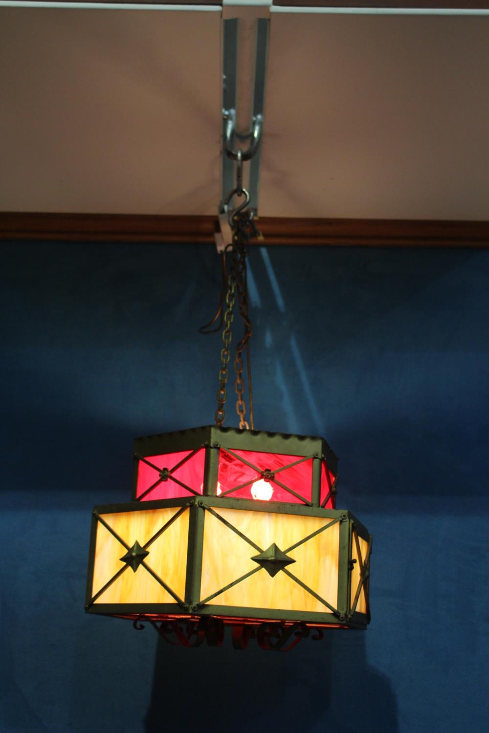 Metal two tier ceiling light