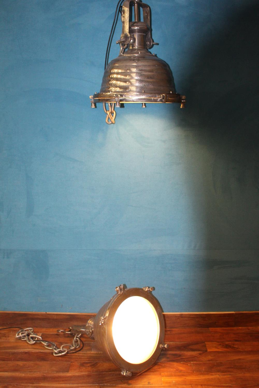 Pair of nickel industrial downlighters