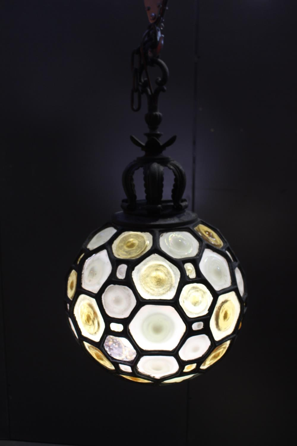 Wrought iron Bulls eye glass ceiling light - Image 2 of 2