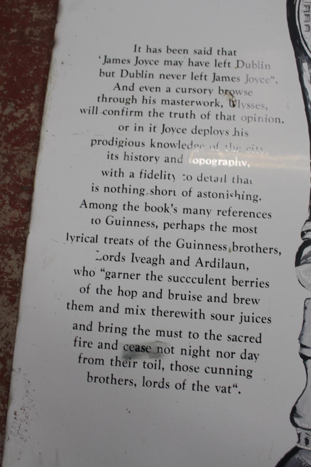 Guinness James Joyce metal painted advertising sign - Image 3 of 4
