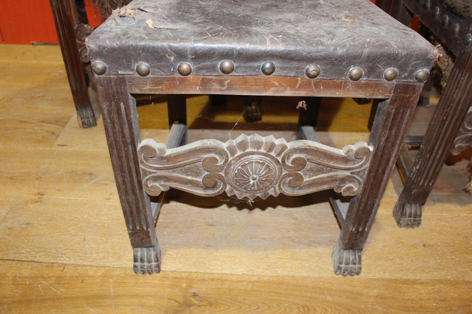 Set of five 19th C. oak and mahogany side chairs - Image 2 of 2