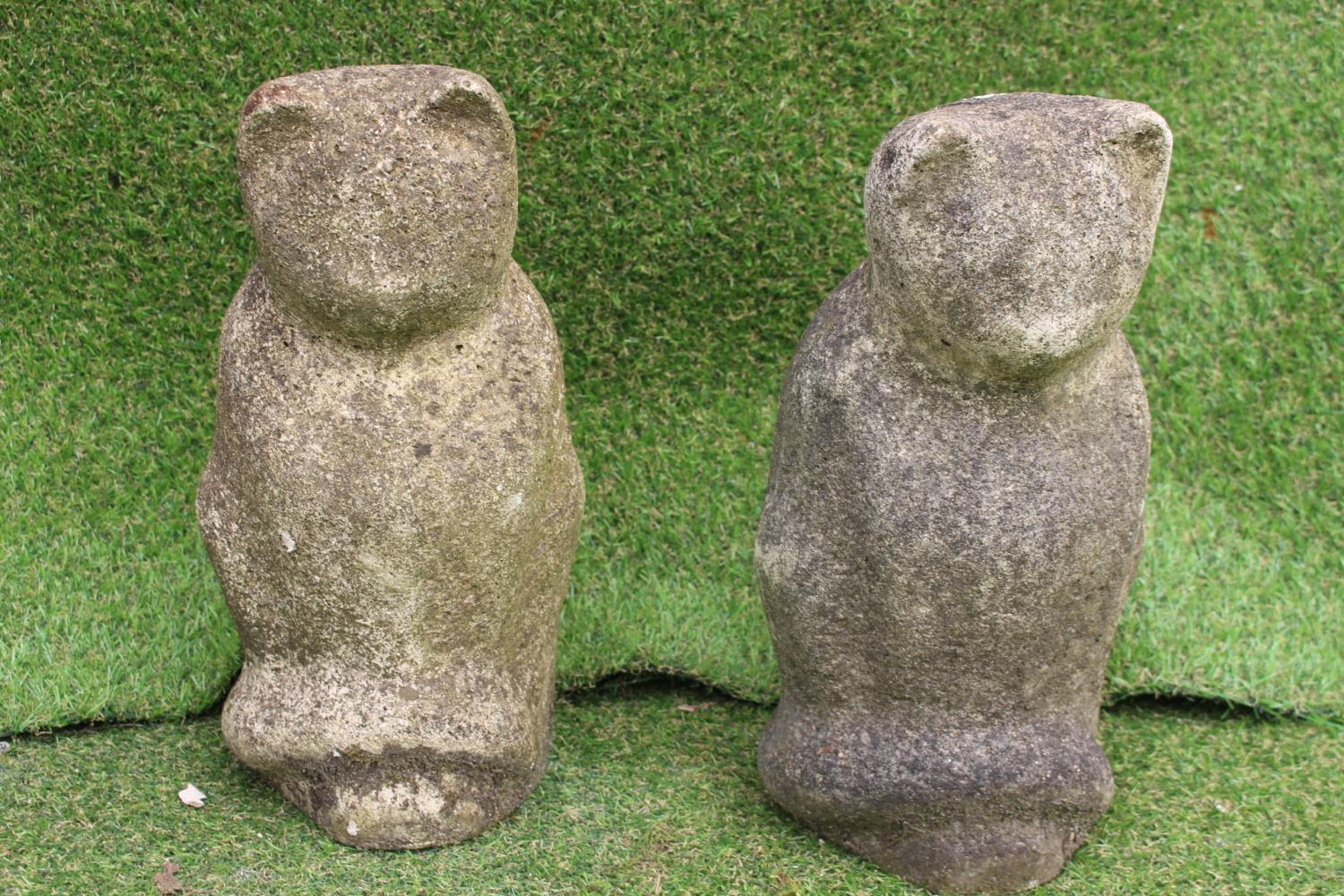 Pair of sandstone models of Cats