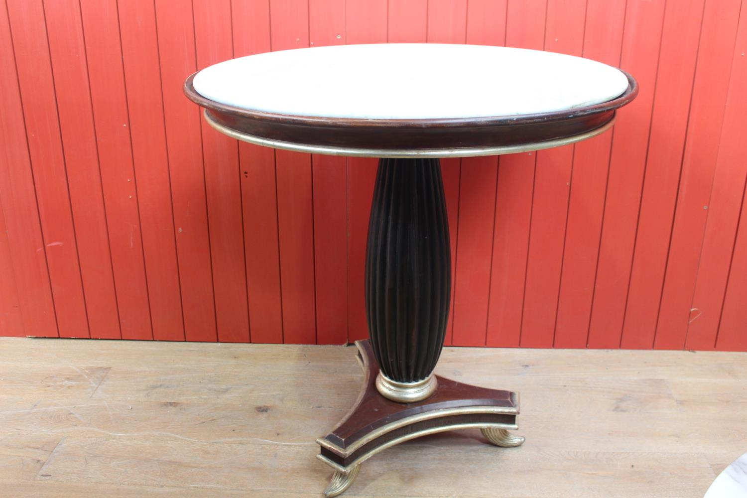 Ebonised and silver drinks table