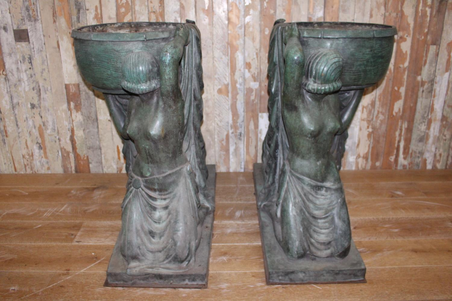 Pair of Bronze urns - Image 2 of 5