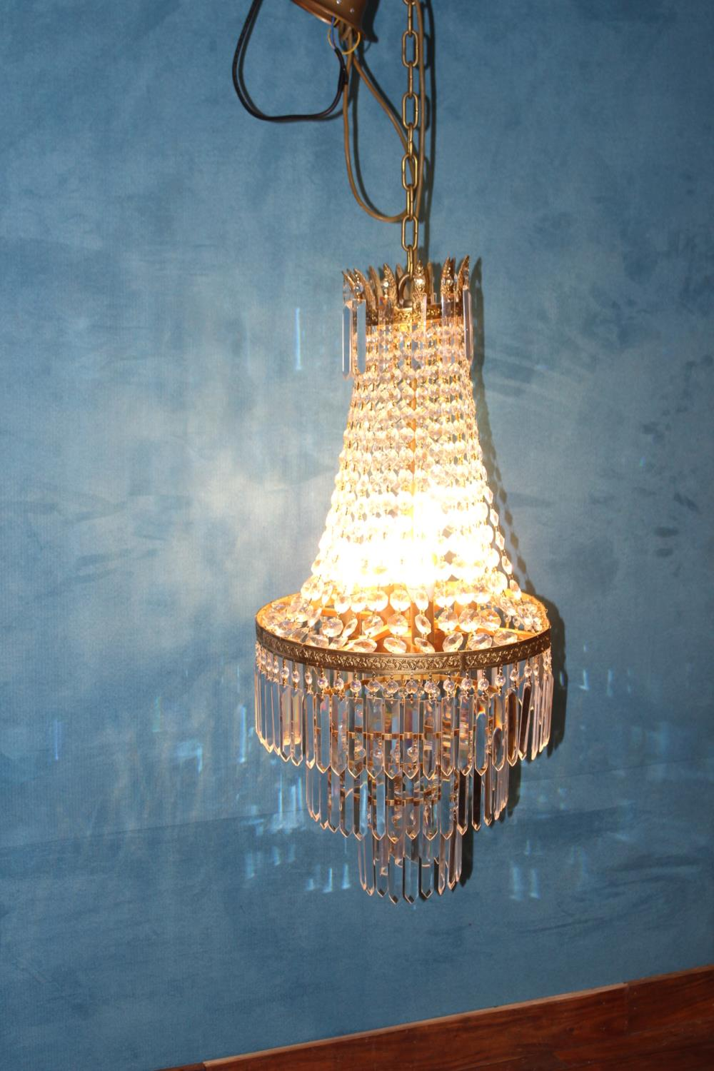 Brass and crystal glass centre light.
