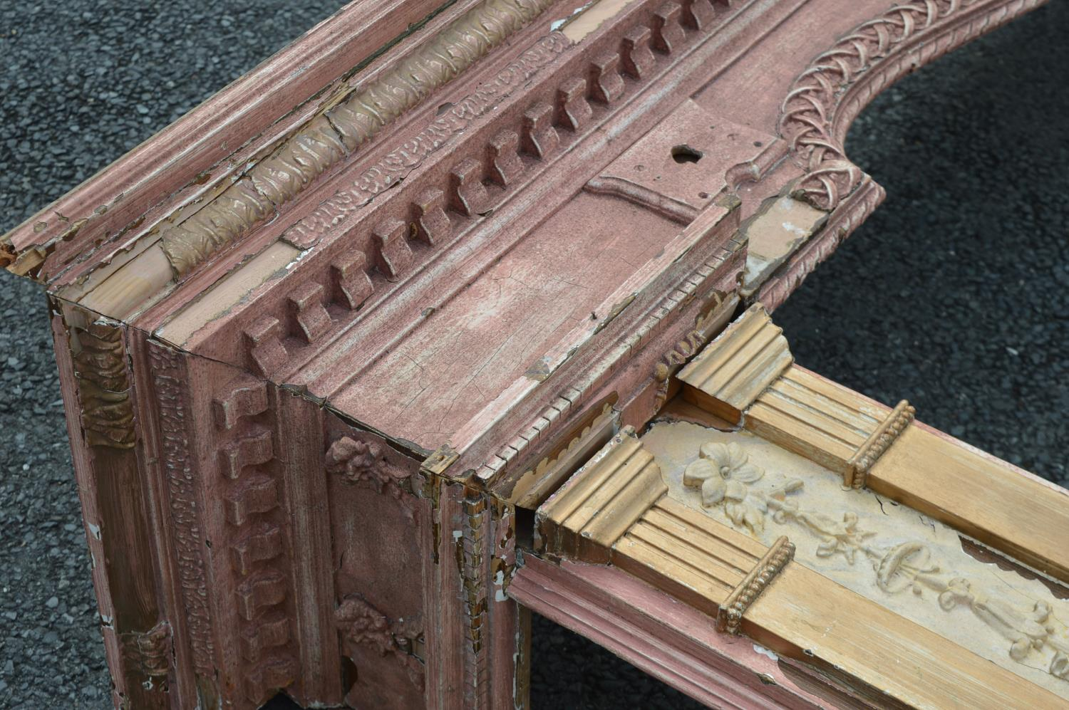 Large pine and gesso door surround. - Image 3 of 4