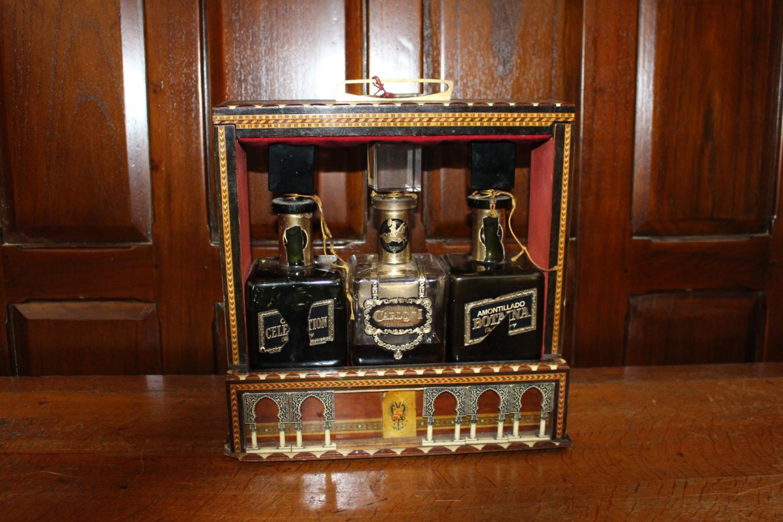 19th C. Inlaid three bottled tantalus