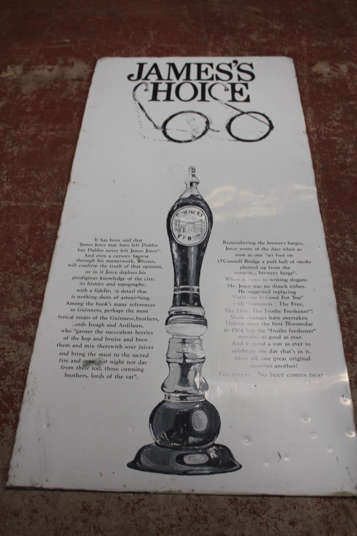 Guinness James Joyce metal painted advertising sign