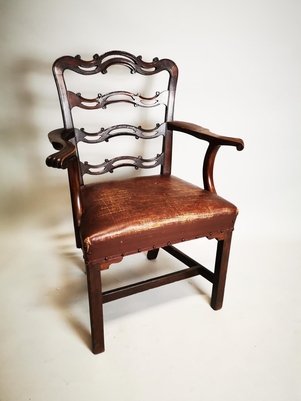 Irish Georgian mahogany ladder backed carver - Image 2 of 6