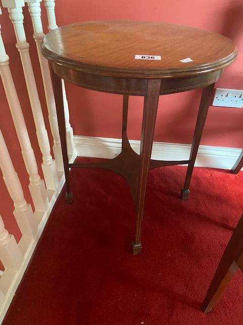 Edwardian inlaid mahogany circular centre table { Approx 74cm H X 56cm Dia }. - Image 2 of 2
