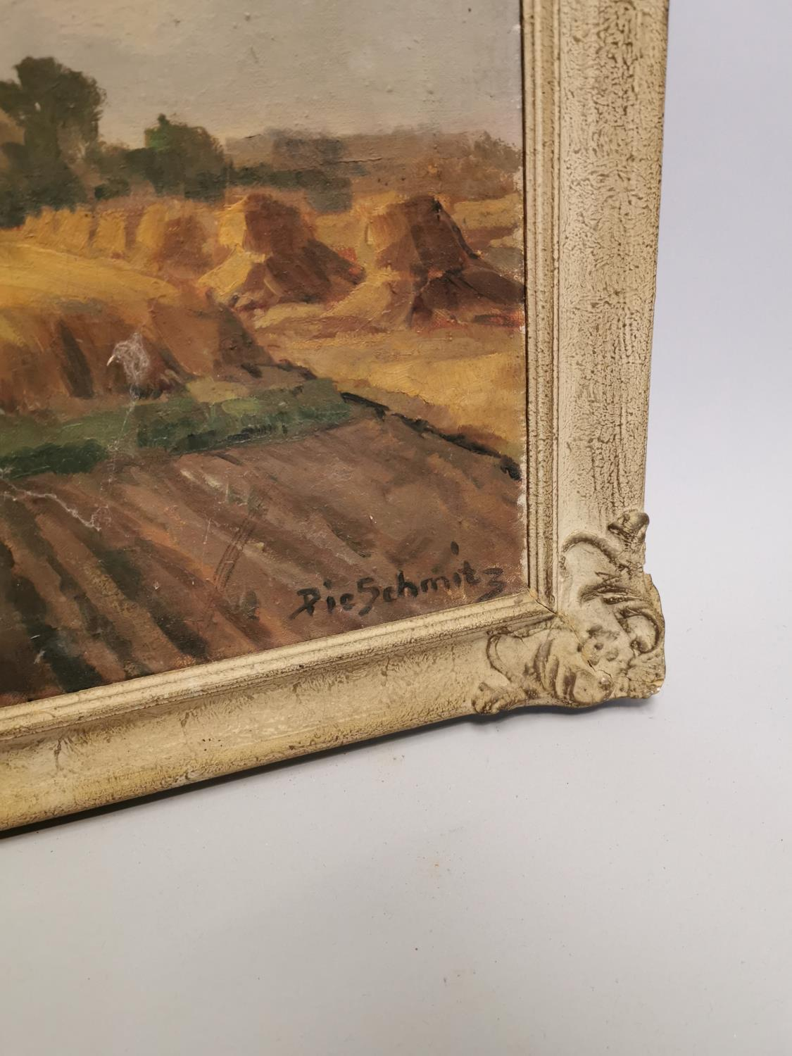 Pie Schmits The Hay Field Oil on Canvas - Image 3 of 5