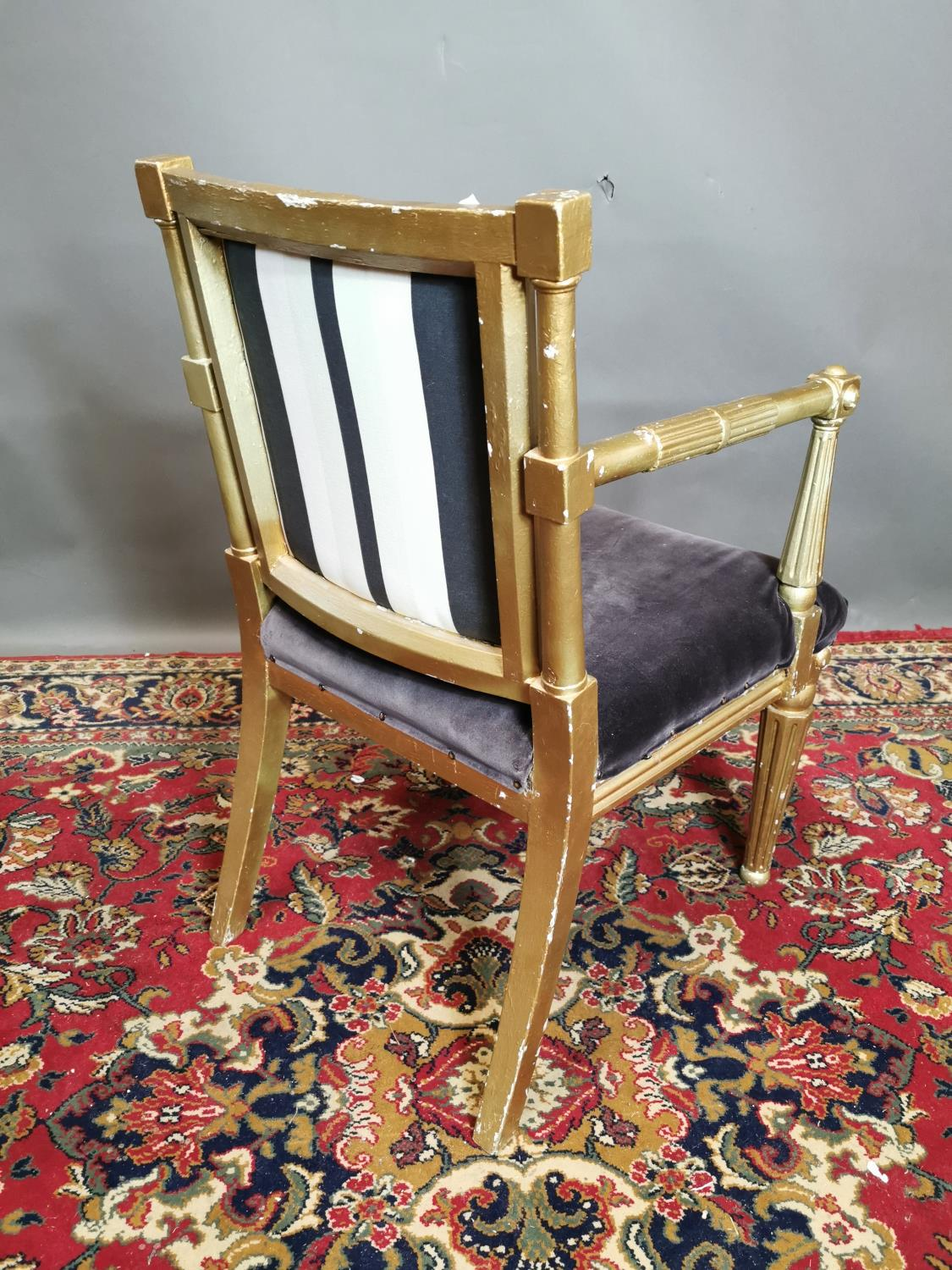 19th. C. upholstered giltwood open armchair - Image 3 of 3