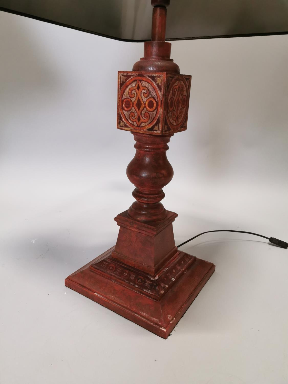 Pair of hand painted pine table lamps - Image 6 of 6