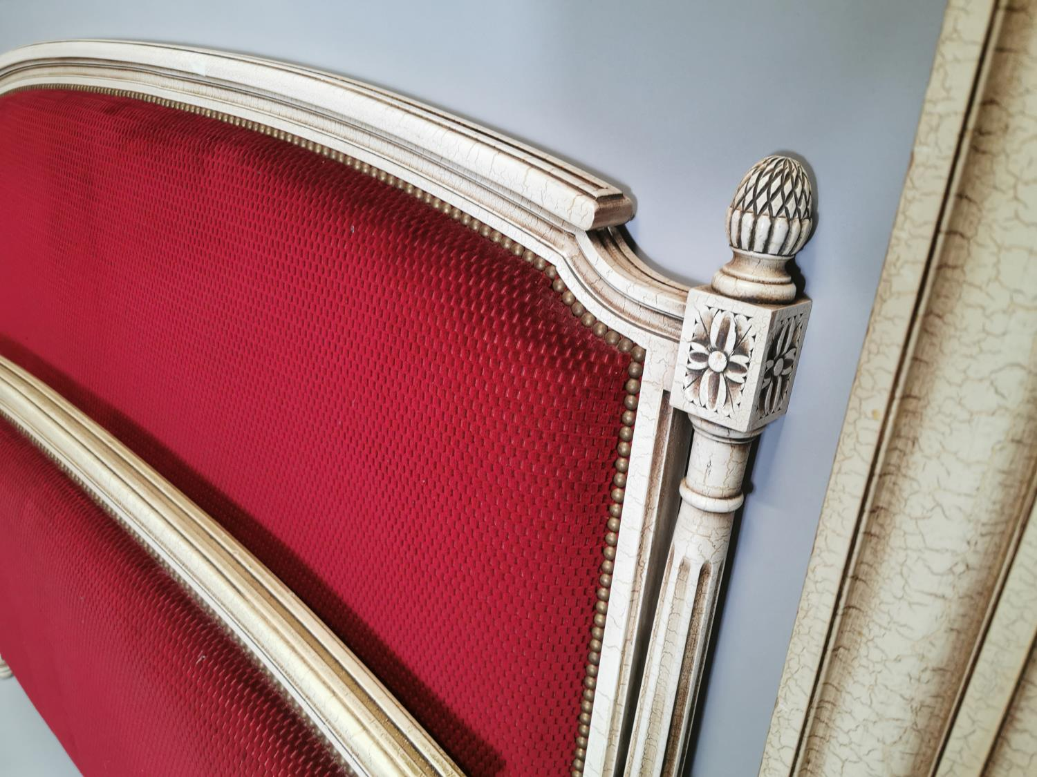 French painted and upholstered bed - Image 5 of 7