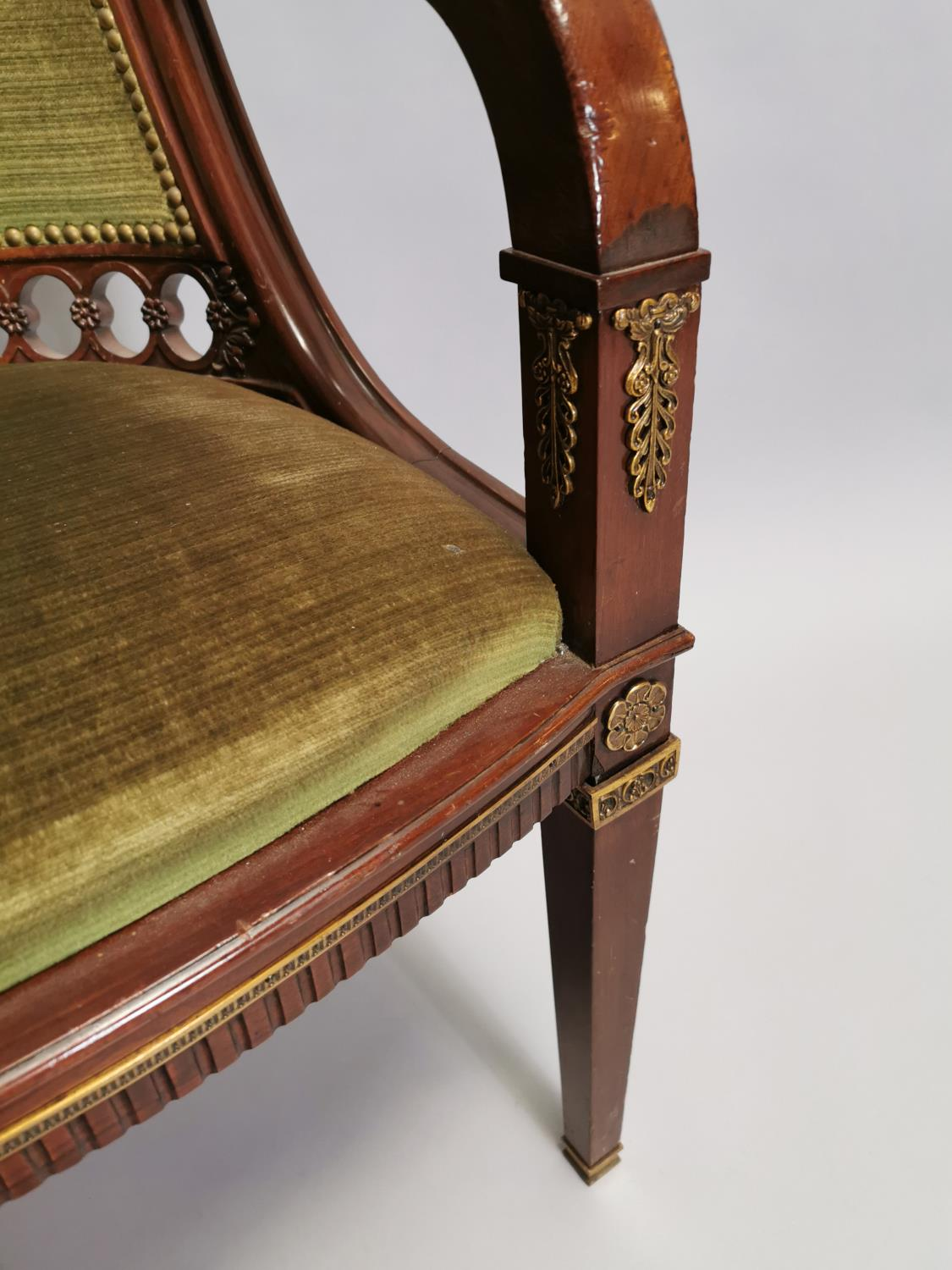 Upholstered mahogany desk chair - Image 3 of 8