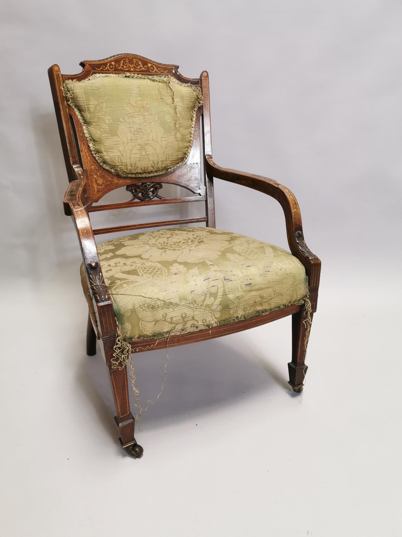 Edwardian inlaid upholstered Ladies armchair