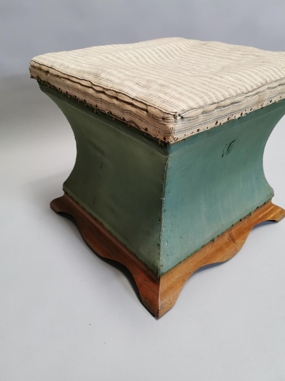 Edwardian mahogany upholstered ottoman - Image 2 of 7