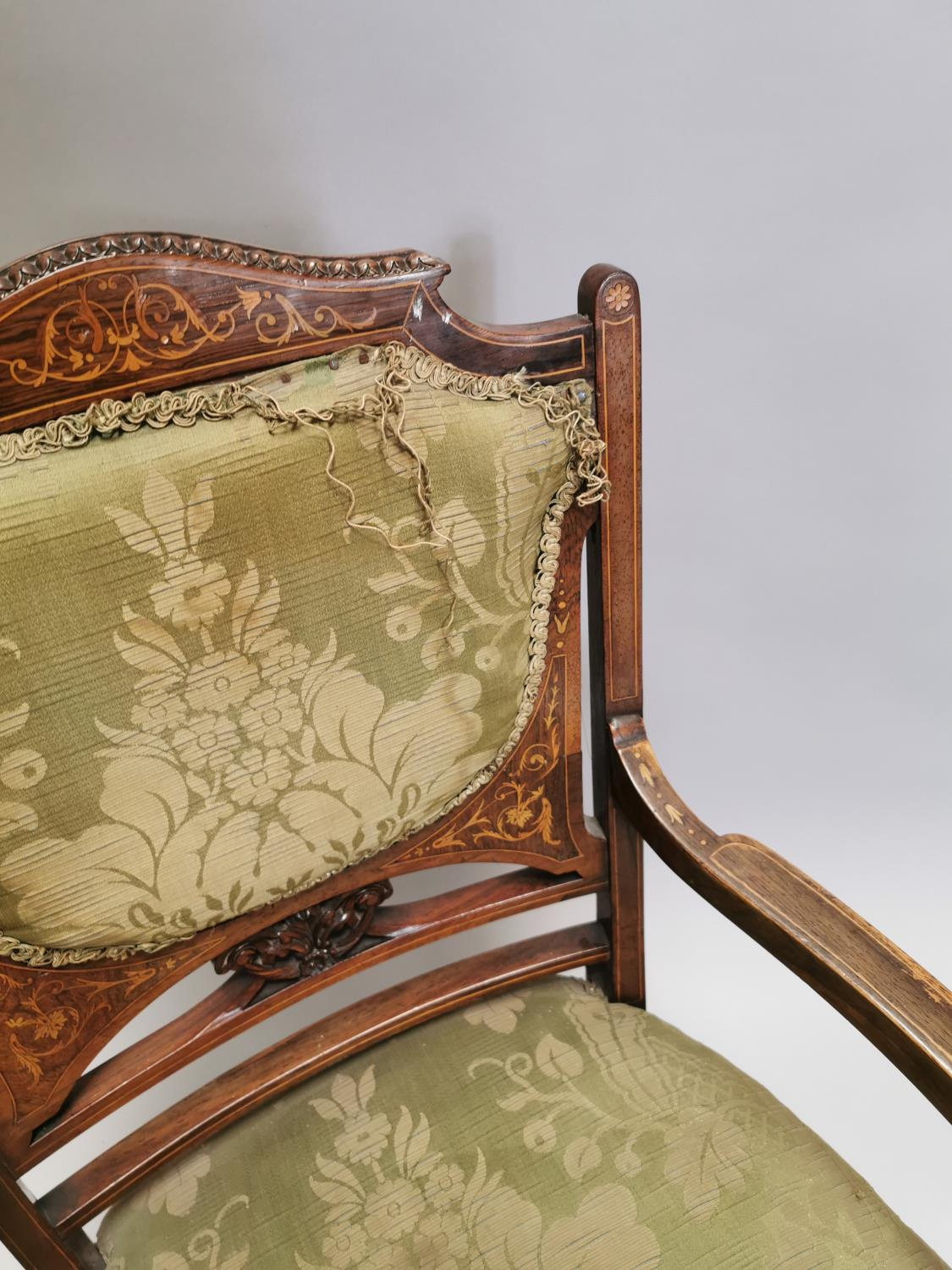 Edwardian inlaid upholstered Ladies armchair - Image 3 of 7