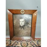 19th. C. oak frame enclosing a picture of Napolean