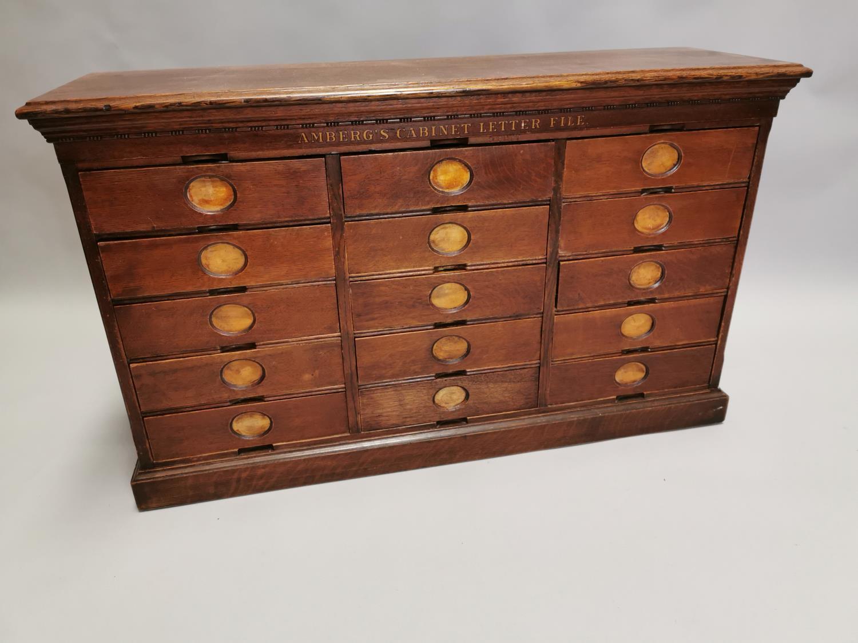 Rare Art Deco oak bank of fifteen drawers