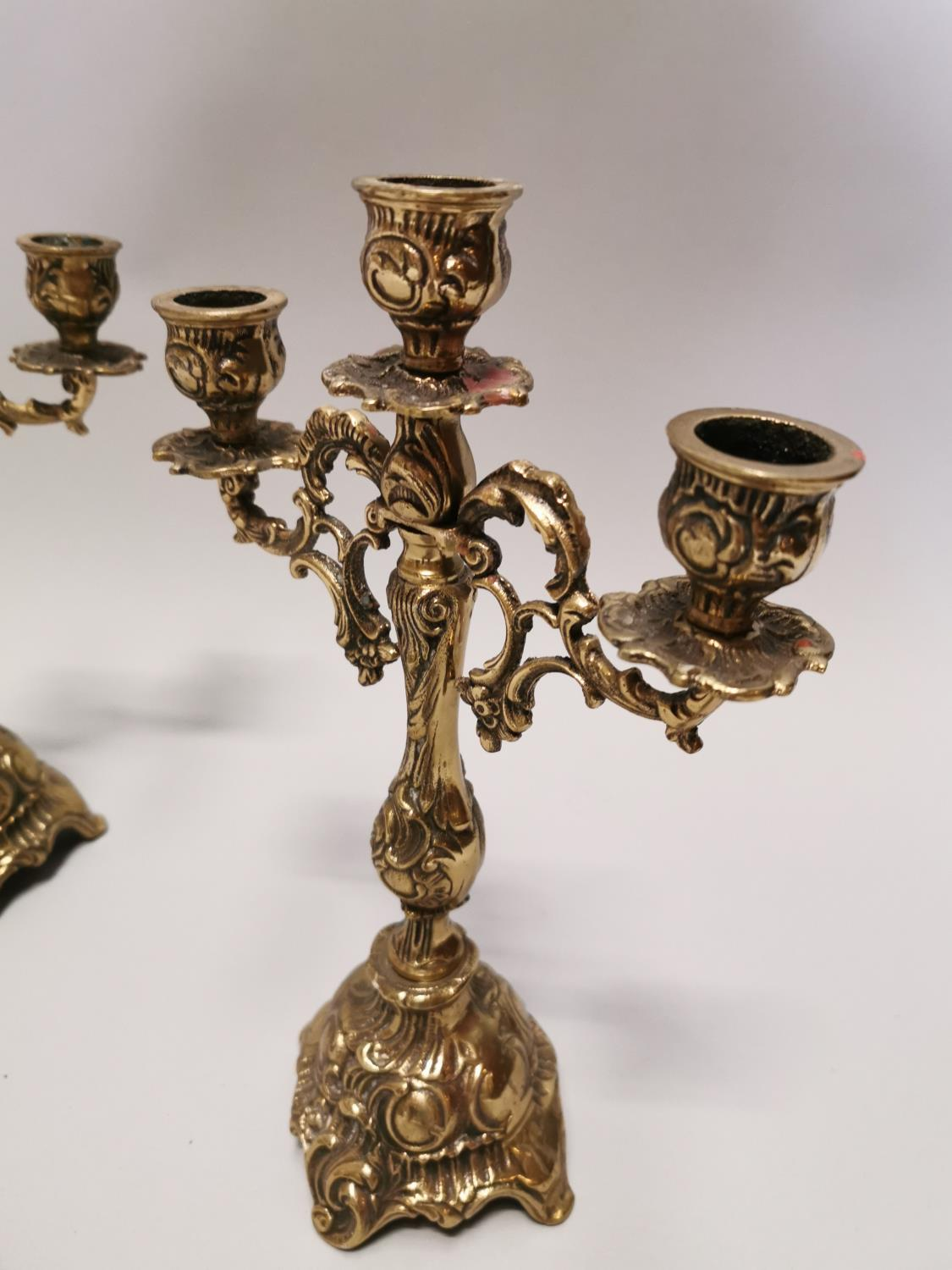 Pair of two branch brass candelabra - Image 3 of 5