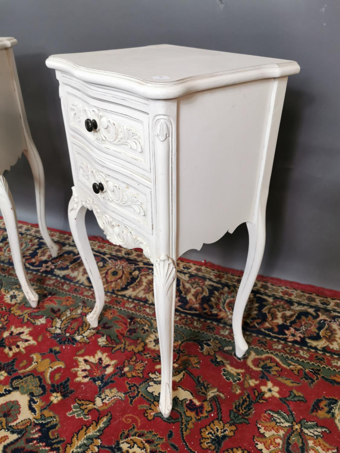 Pair of painted pine lockers in the French style with two drawers raised on cabriole legs. {74 cm H - Image 3 of 3