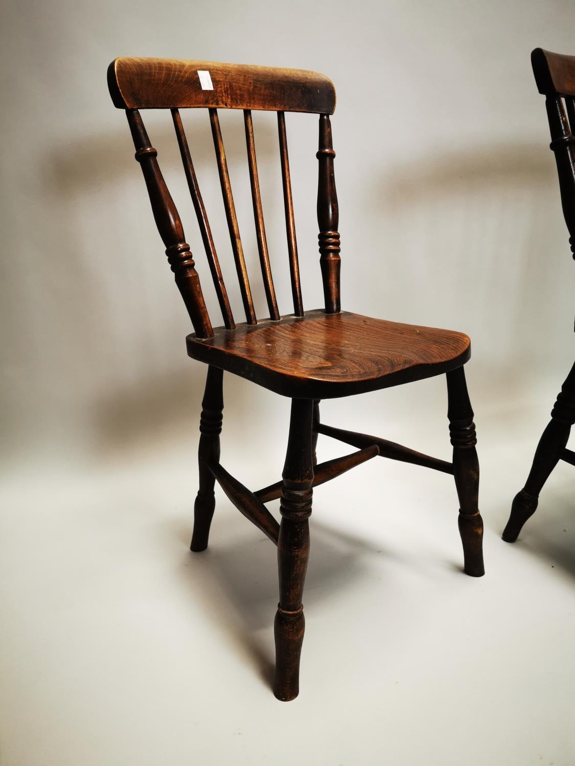 Pair of 19th C. pine and elm kitchen chairs - Image 4 of 8