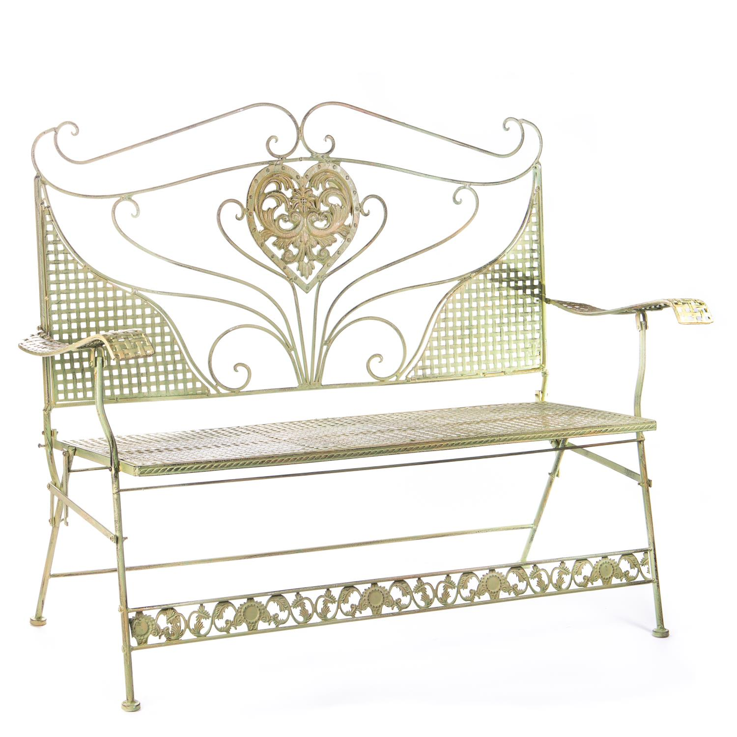 Green Wrought Iron Foldable Seat