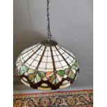 Leaded and stained glass hanging light shade
