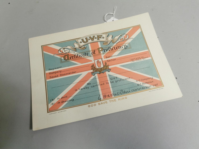 Original U.V.F Certificate of Proficiency