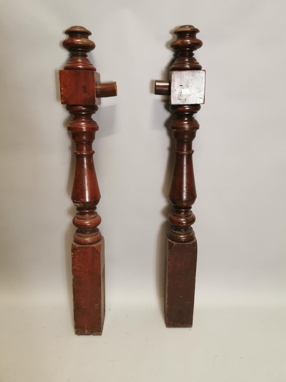 Pair of 19th. C. mahogany newel posts