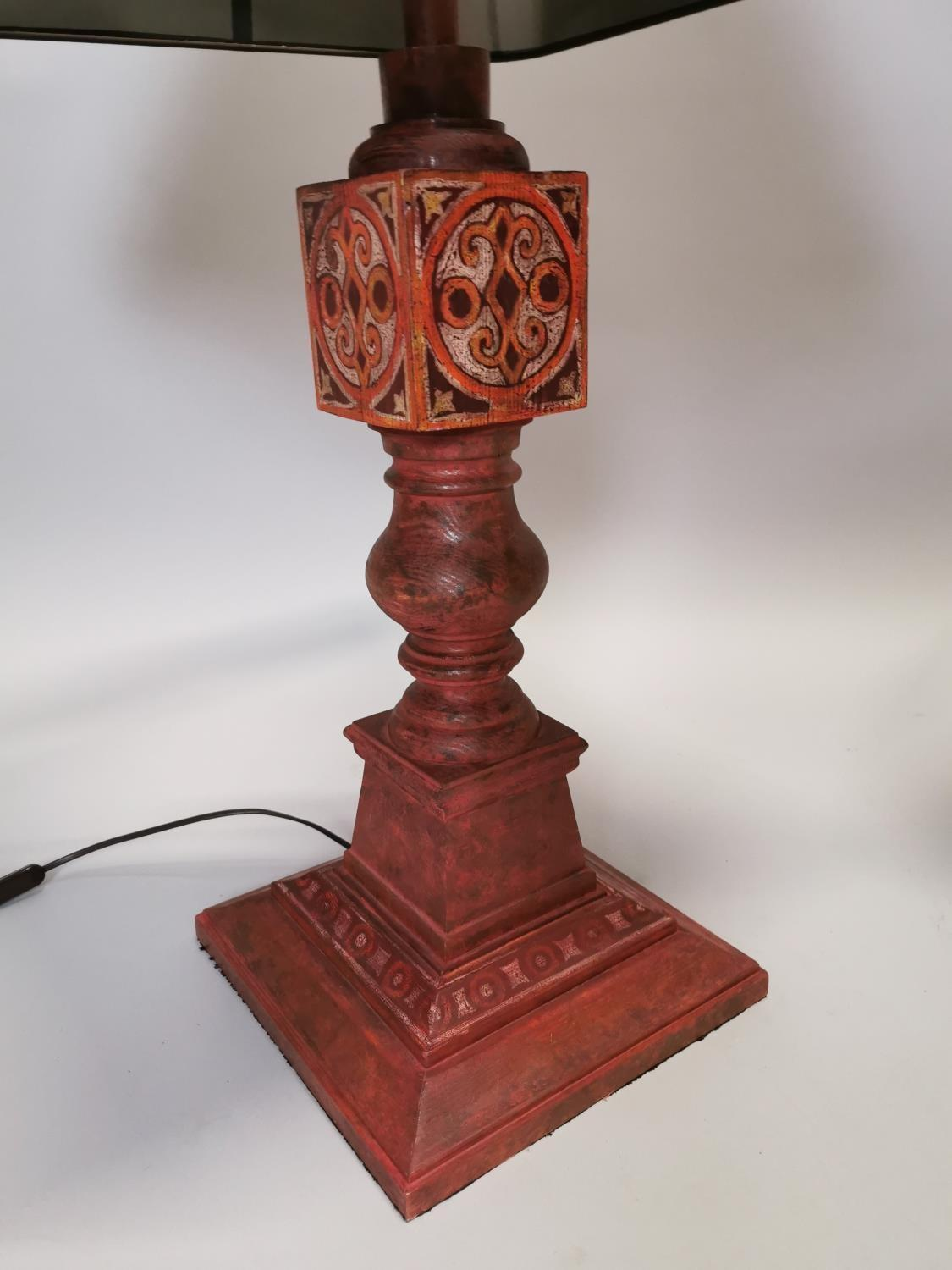 Pair of hand painted pine table lamps - Image 3 of 6