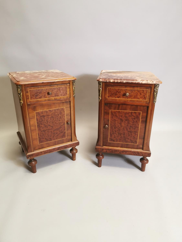 Pair of 19th. C. kingwood and burr walnut bedside lockers.