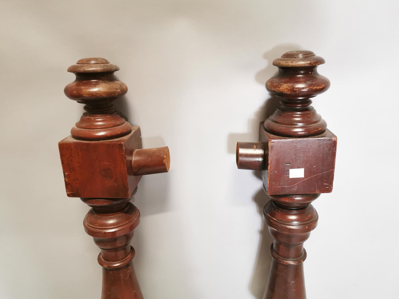 Pair of 19th. C. mahogany newel posts - Image 3 of 5