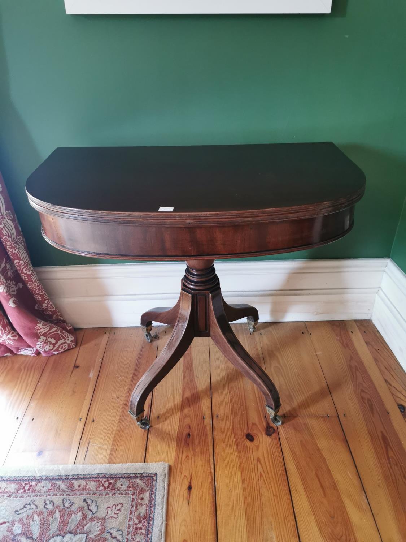 Regency mahogany D- end turn over leaf tea table