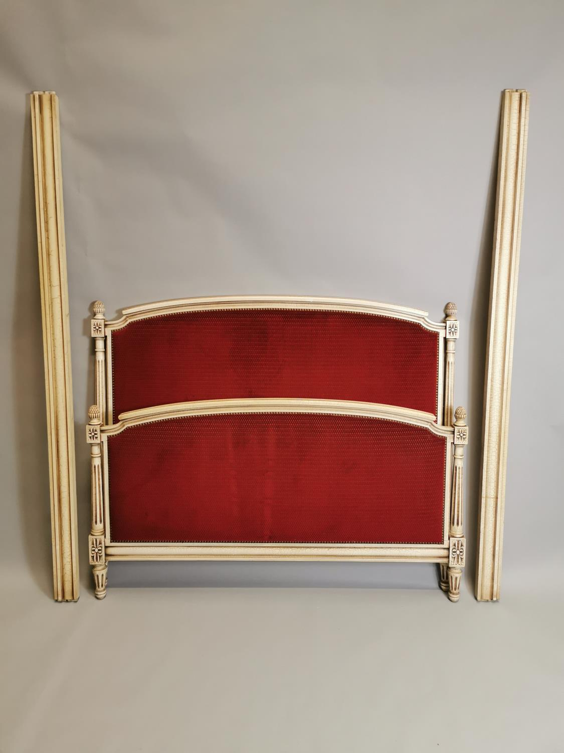 French painted and upholstered bed