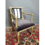 19th. C. upholstered giltwood open armchair