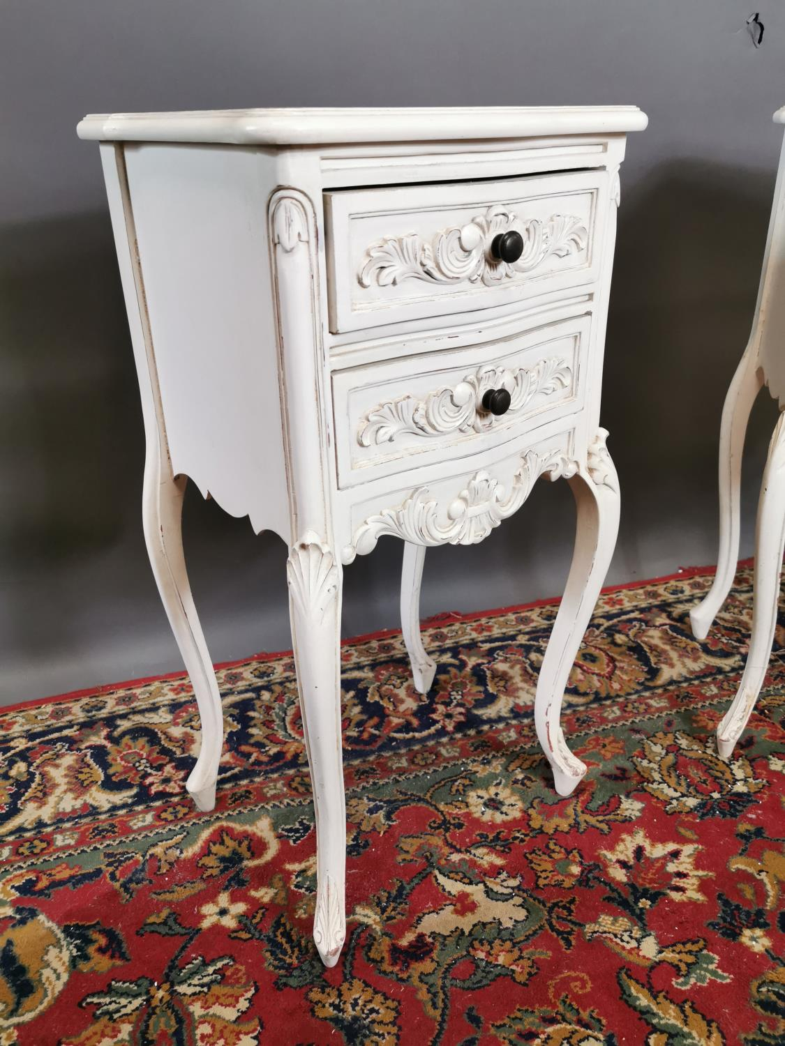 Pair of painted pine lockers in the French style with two drawers raised on cabriole legs. {74 cm H - Image 2 of 3