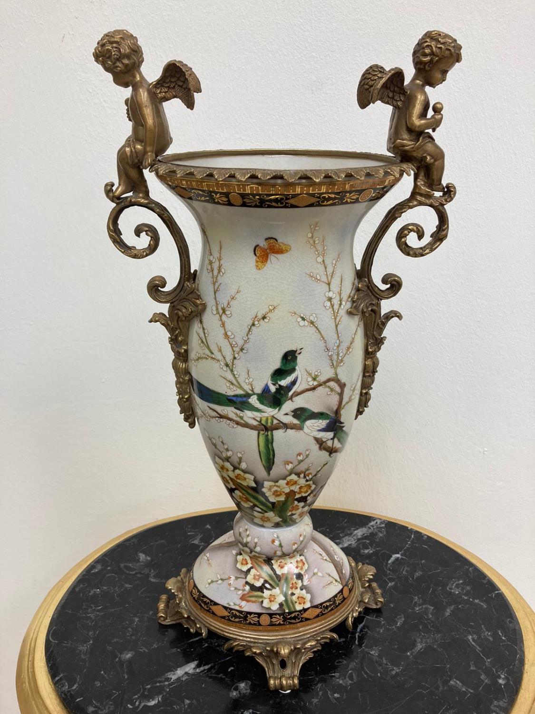 Pair of Gilded Bronze & White Porcelain Cherub Vases