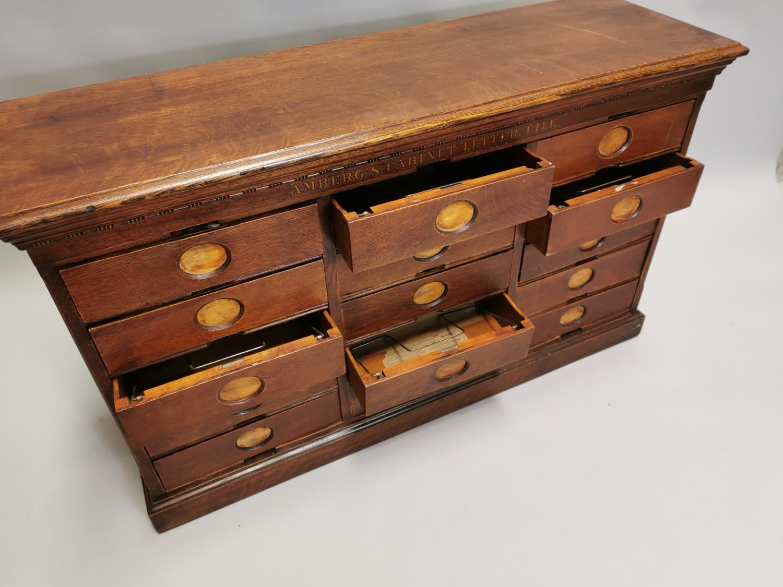 Rare Art Deco oak bank of fifteen drawers - Image 6 of 8
