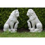 Pair of moulded stone seated lions