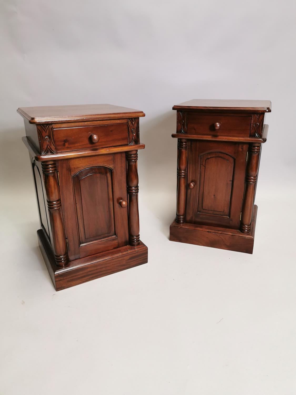 Pair of mahogany bedside lockers