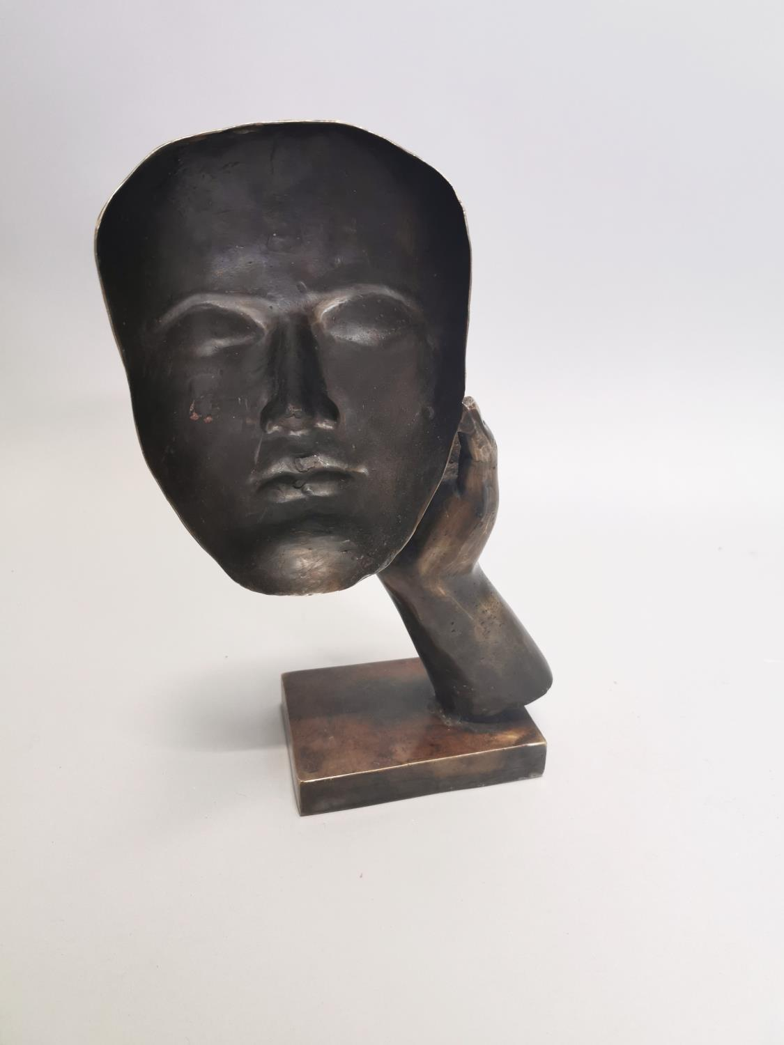 Bronze model of a hand and mask - Image 7 of 7