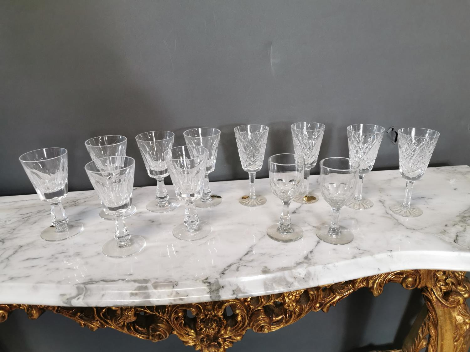 Ten Waterford crystal sherry glasses