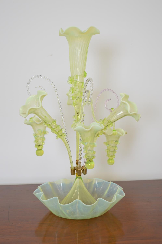 Vaseline glass eight branch epergne
