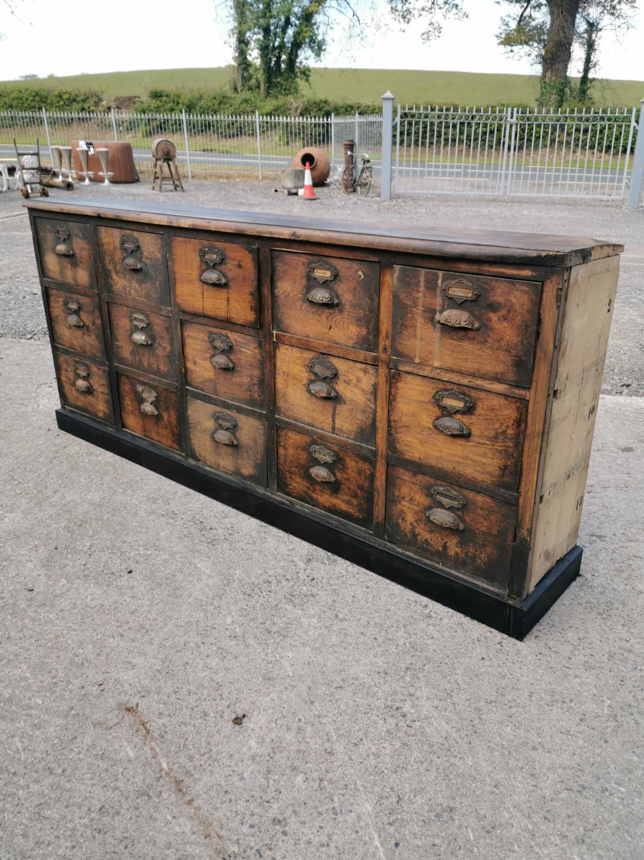 19th C. oak bank of drawers.