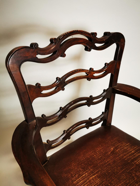 Irish Georgian mahogany ladder backed carver - Image 4 of 6