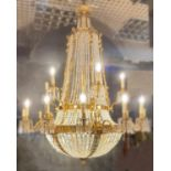 Large Sac de Pearls Chandelier with two tier Gilted Bronze Candleabras